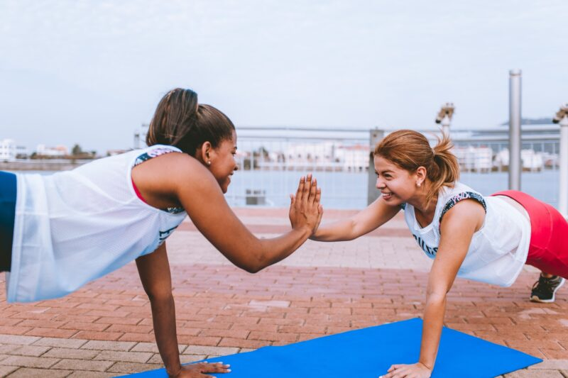 Exercise: Two friends working out