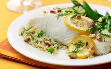 Halibut with Brown Butter, Quinoa and spring vegetables