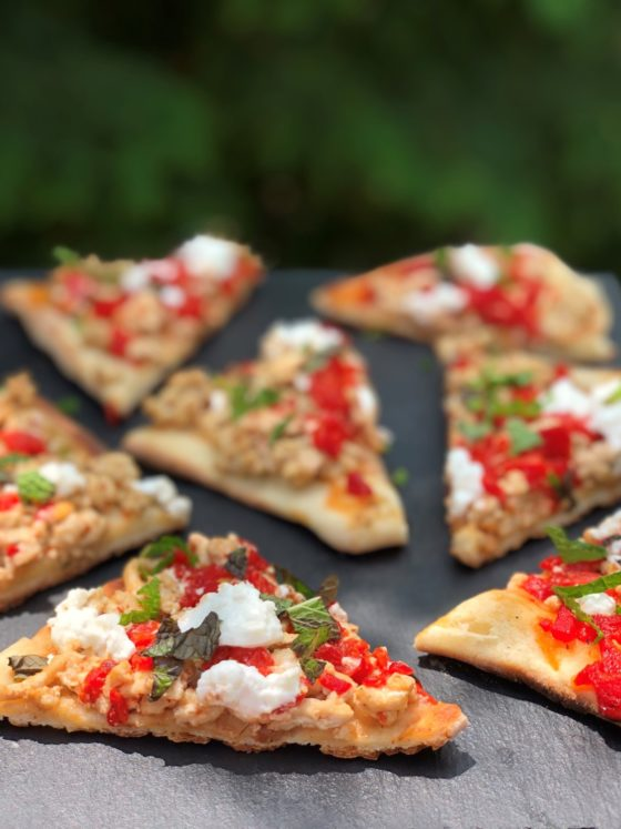 GRILLED HARISSA TURKEY FLATBREAD WITH RED PEPPER JELLY