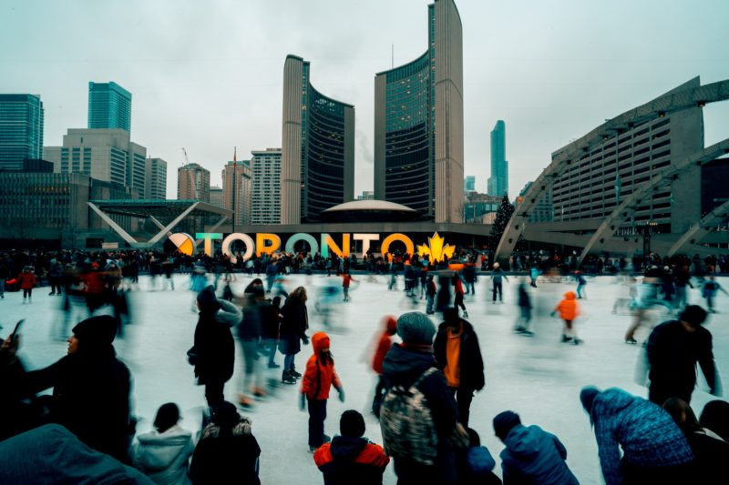 Skating at Nathan Phillips Square Toronto