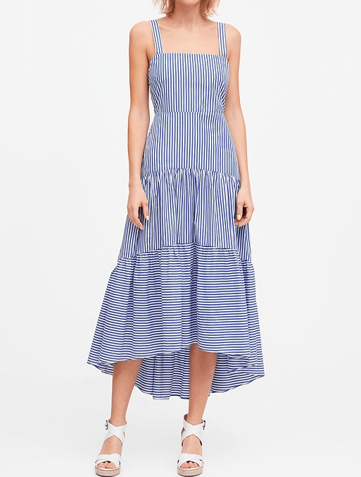 Dresses: Blue and White Striped Poplin Maxi-Dress