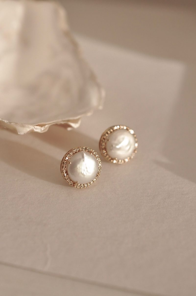 Fleuri Jewelry: Mother of Pearl and Diamond Button Earrings