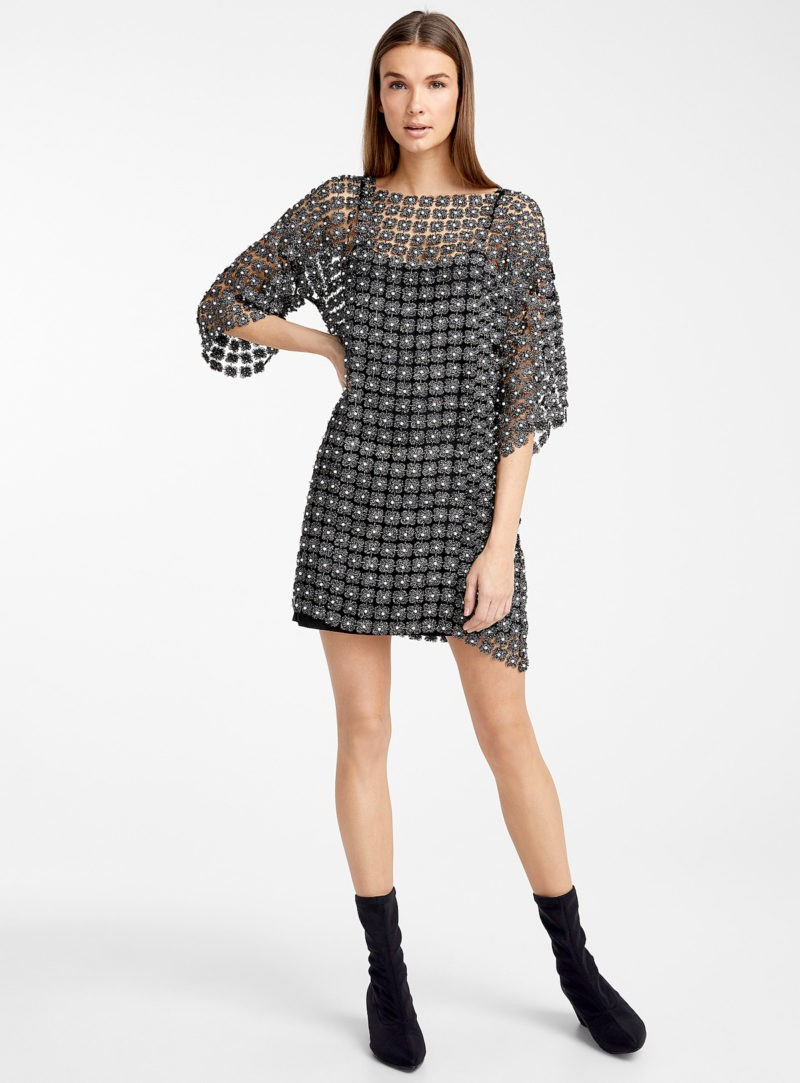 Fall 2020 Elegant Loose Dress with Pearls