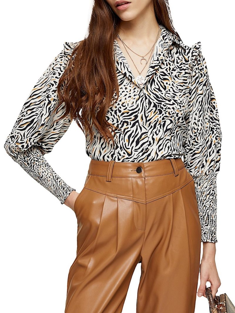 Fall Animal Print Frills Top