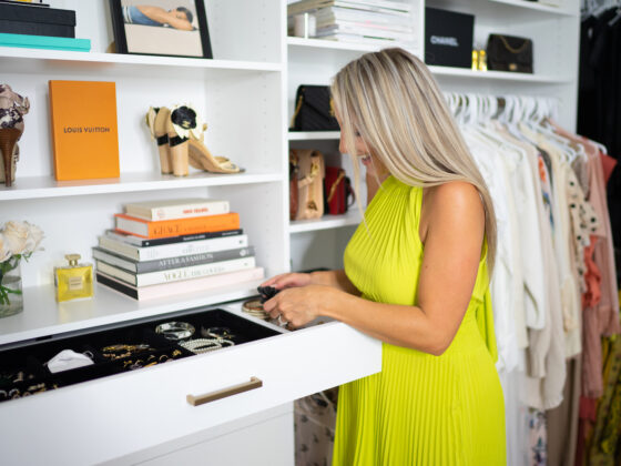 Walk-In Closet: Caroline Elie looking in a drawer