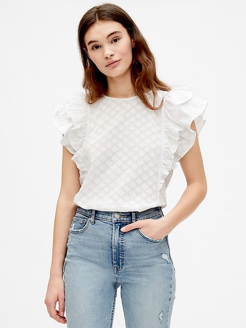 White Ruffle Top Blouse