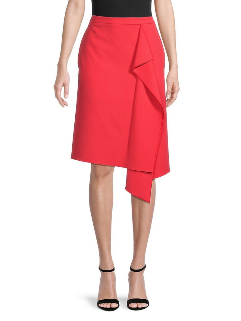 Fall Red Skirt Ruffle Front
