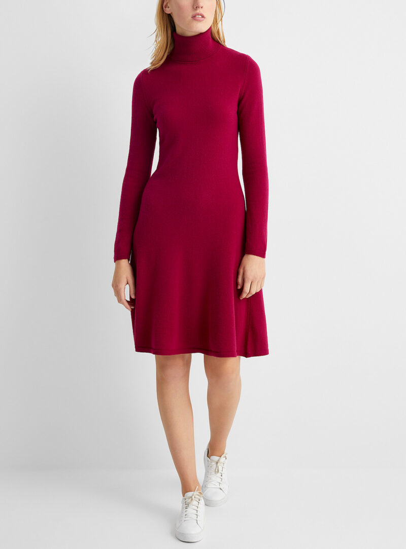 Style Red Turtle-Neck Dress