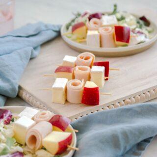 Snack Ideas: Turkey, Brie and Apple Skewers