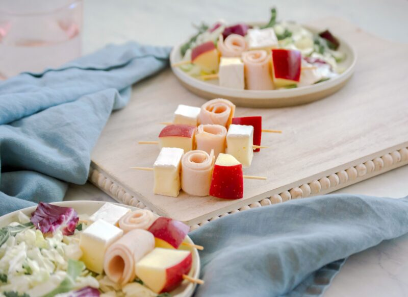 Snack Ideas: Turkey, Brie and Apple Skewers