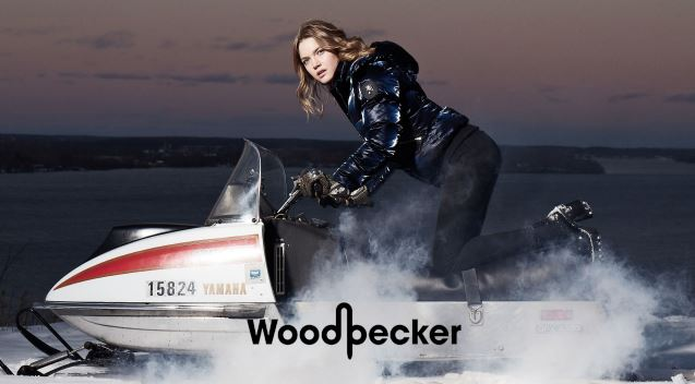 Woodpecker: Woman on Snowmobile