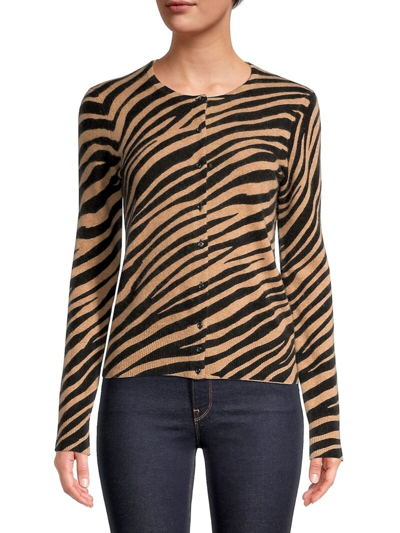 Black Friday Cashmere Tiger-Print Cardigan