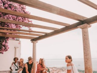 Millennial: Group on terrace in Portugal