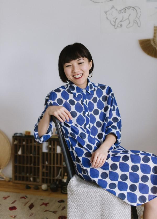 Kate Austin Designs: Woman sitting in shirt dress
