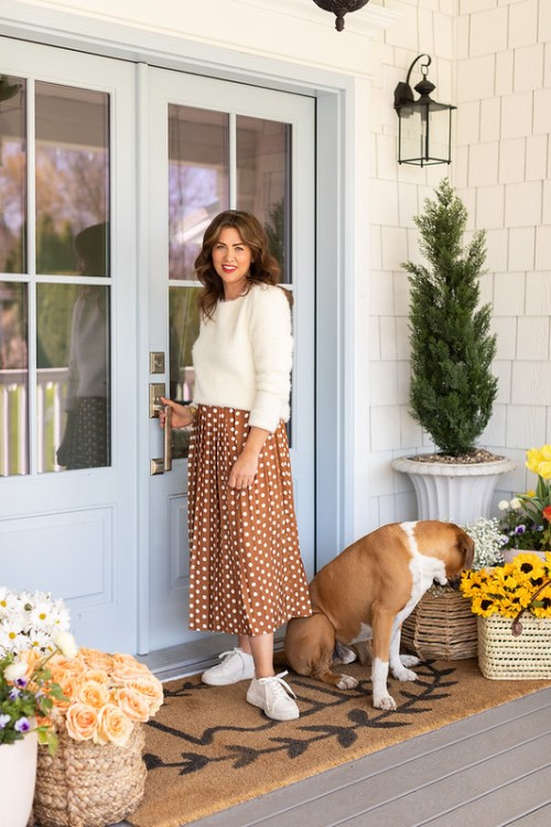 Jillian Harris in Tori Sweater and Shannon Skirt