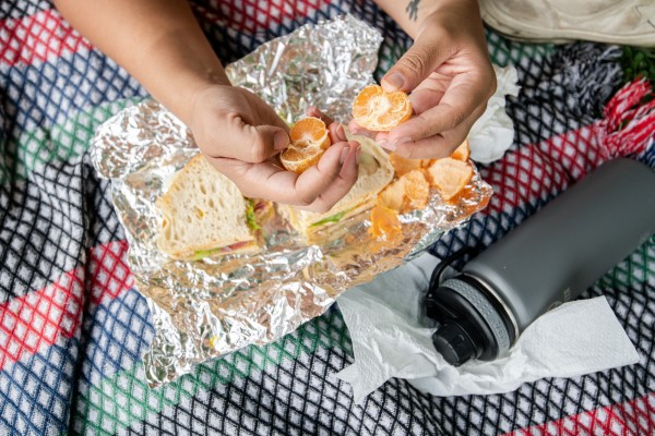 Lunch meal in tin foil