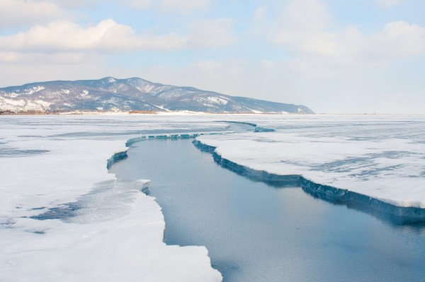 Trans-Siberian Railway: Ice over a river